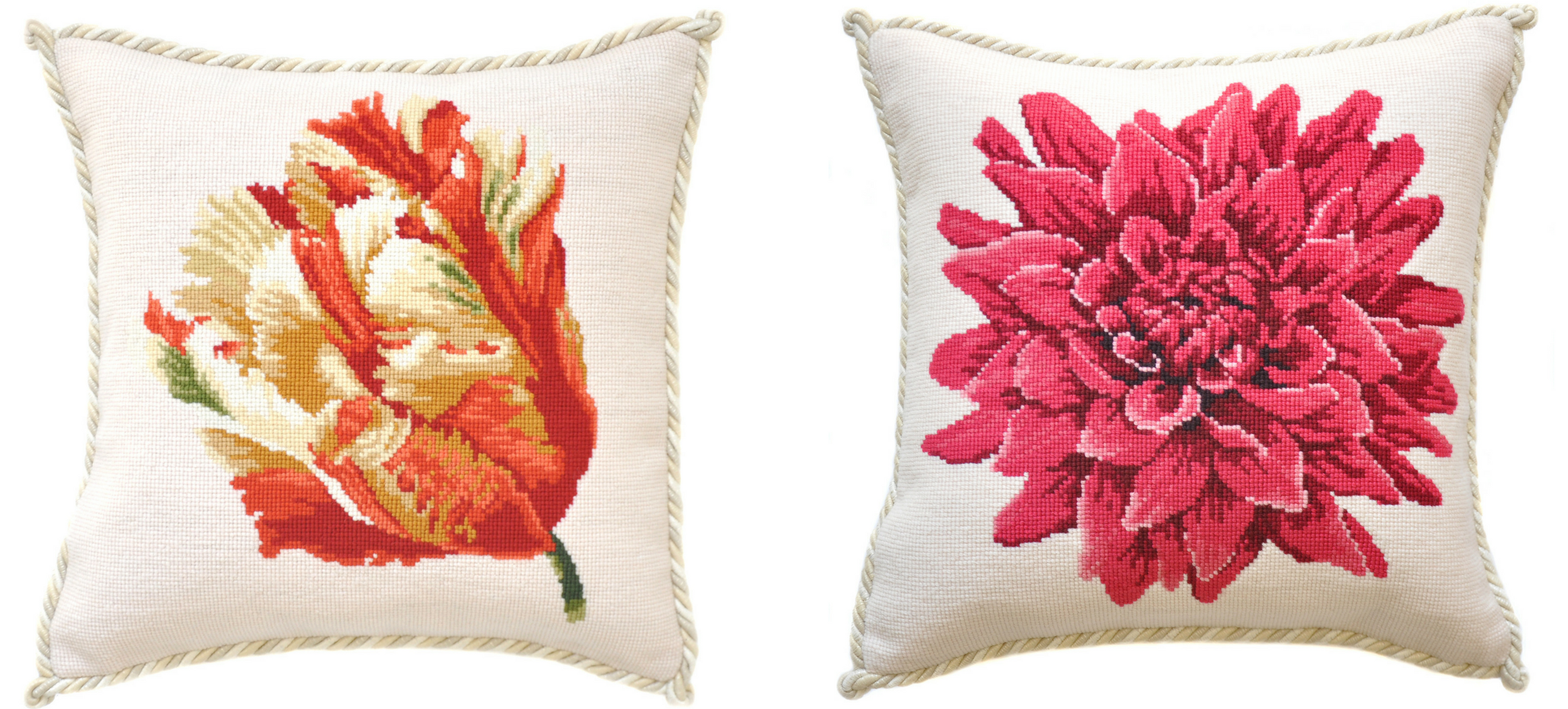 Floral needlepoint pillows