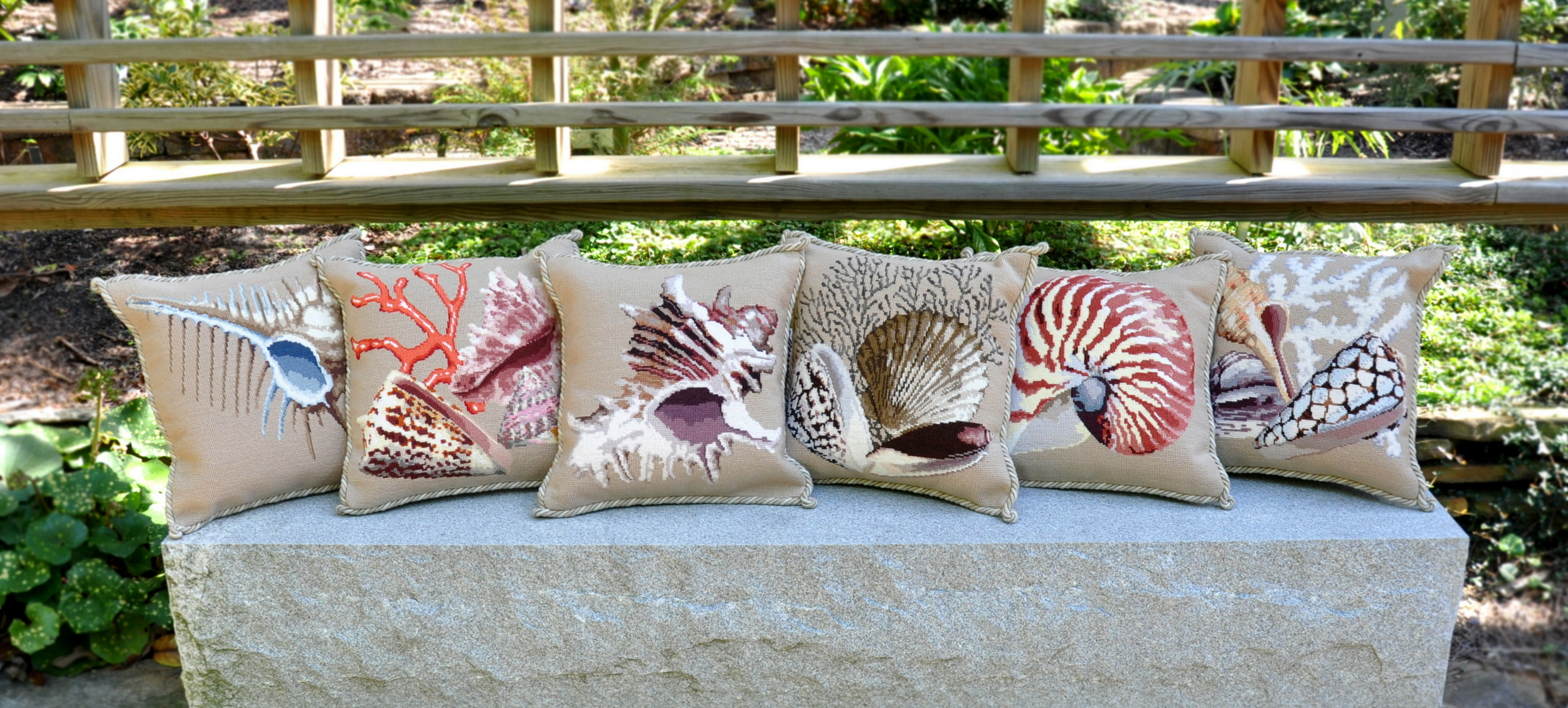 Shells needlepoint pillows