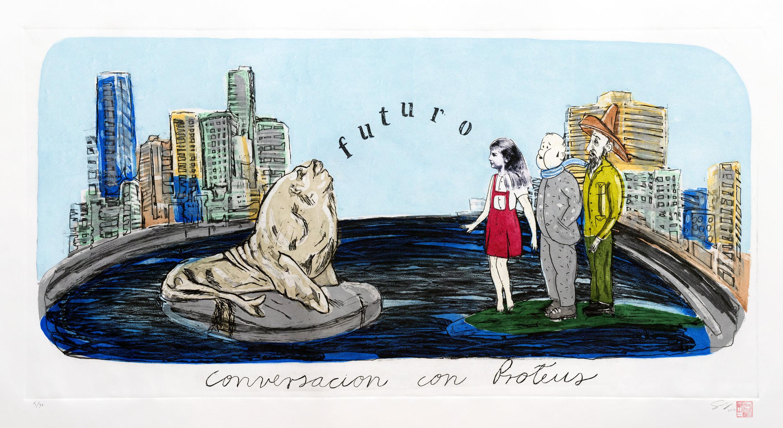 2012.Sandra Ramos. Conversacion con Proteus. etching 50 x 100 cm.jpeg