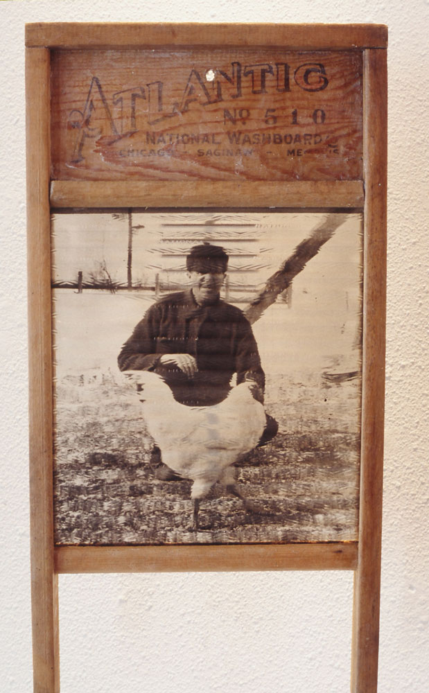 """Mixed Media, """"Man and Chicken"""""""