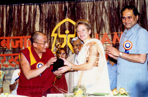 In 1995 Srimati Kamala received the Jamnalal Bajaj International Award for Promoting Gandhian Values outside India, This prestigious award was presented by His Holiness the Dalai Lama at a ceremony in Bombay on November 5, 1995.