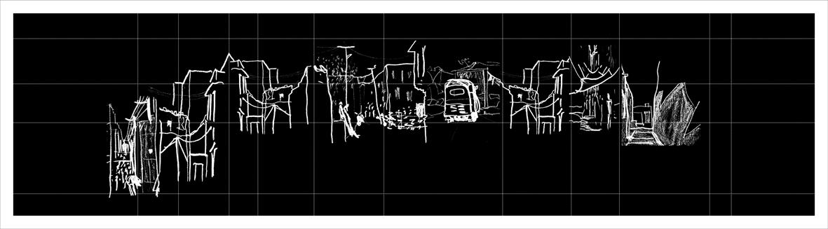 Urban sequence -   Jaisalmer - 2011 - Sketch - Pen on paper - 8 x 30 cm