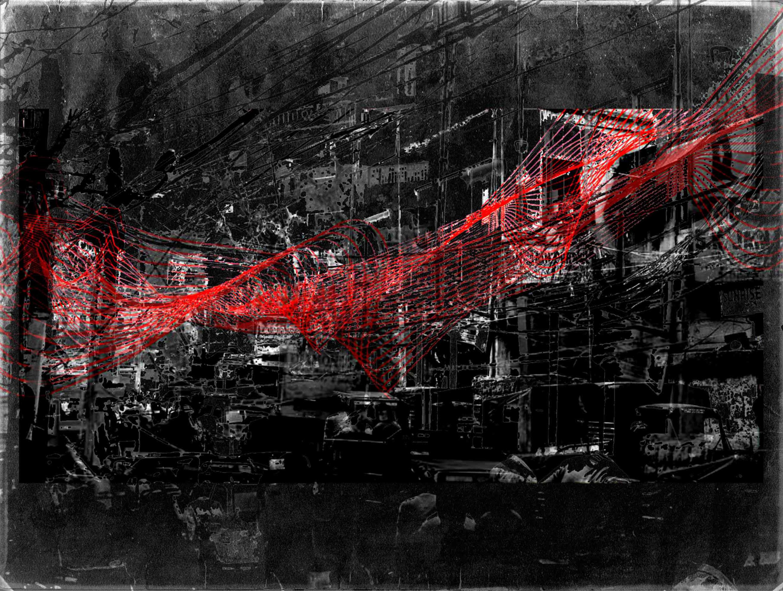 City congestion  - Delhi - 2012 - Screen print on paper - 80 x 40 cm -  Edition of 01
