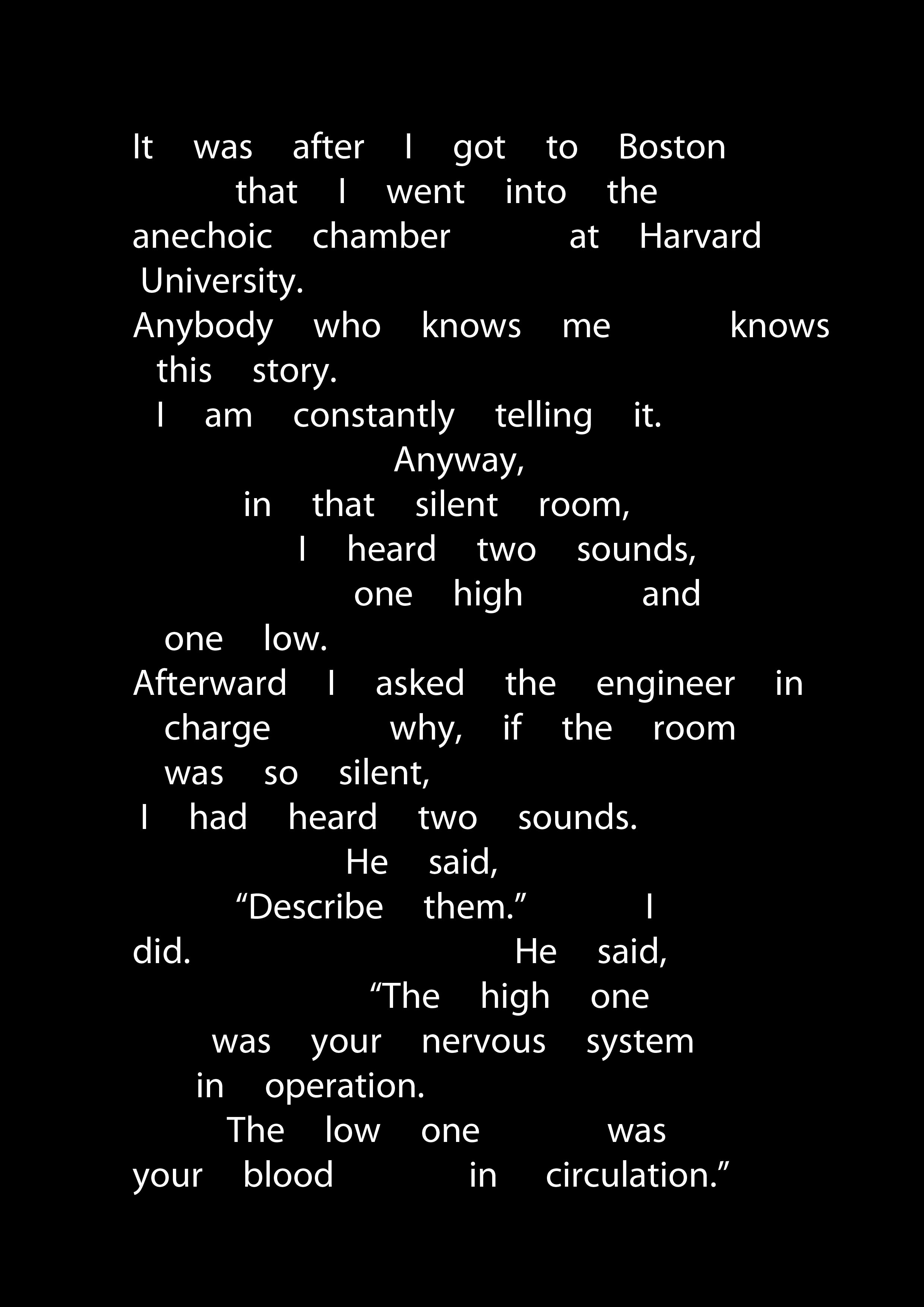Transcript of story 6, Indeterminacy, Ninety Stories by John Cage, With Music, ca. 5'00'' to 6'00''