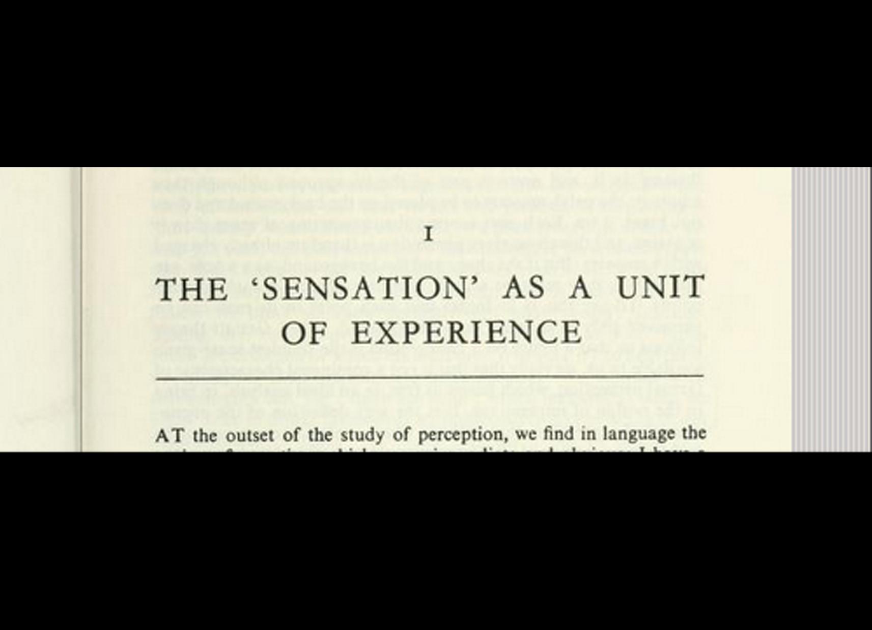 Excerpt from ' Phenomenology of perception', Merleau-Ponty