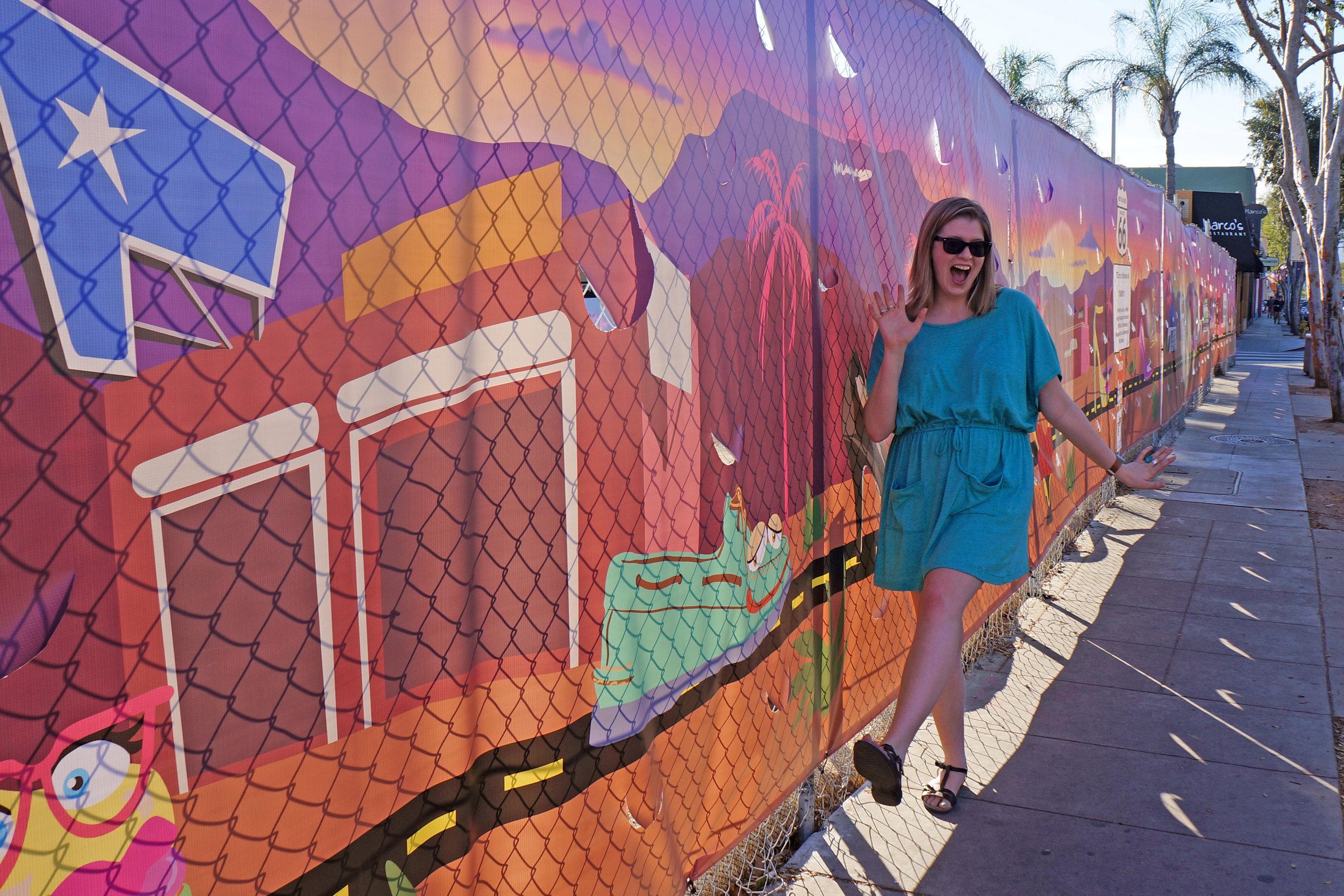 Sarah at YoMeryl Mural on Santa Monica