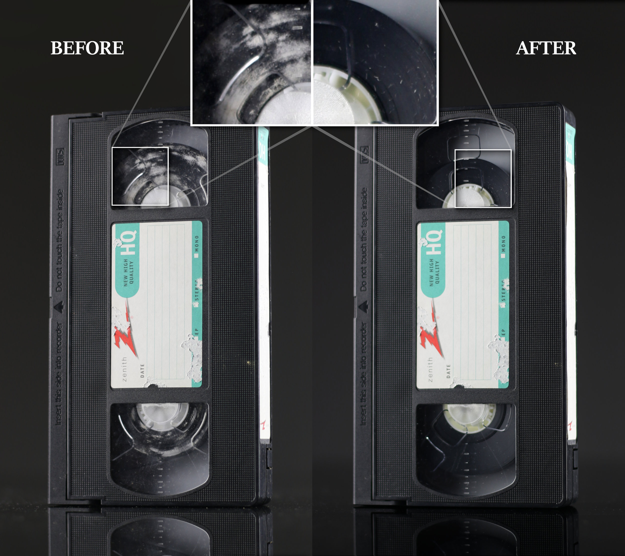 Mold Removal - Your tapes may have mold on them due to humidity and heat. We use specialized machines to clean your tapes and prepare them for transferring.