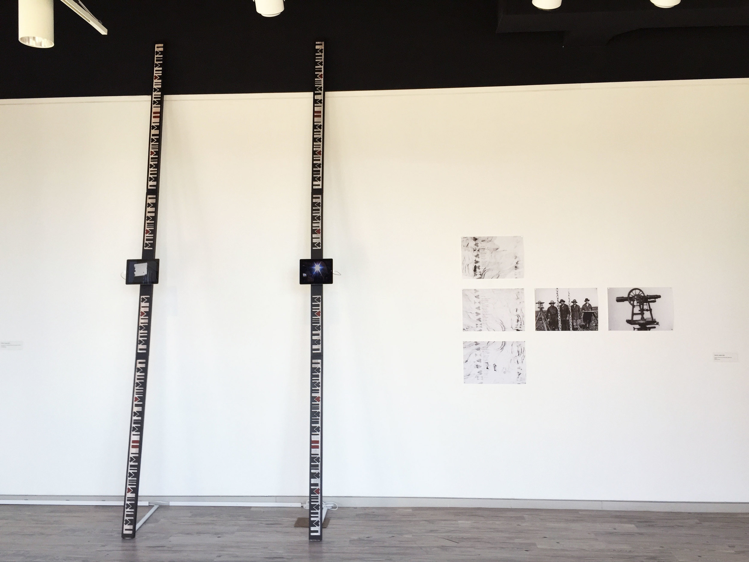 Shown Here:  Survival 101 (sculptural edition) Mapping Meaning: A Double Document (photo installation)