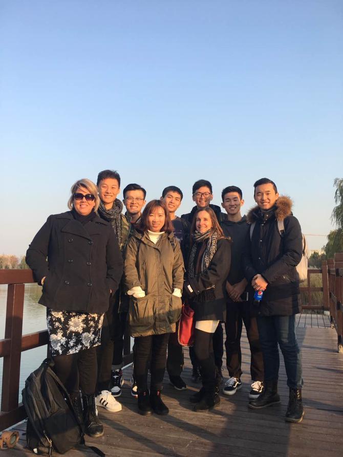 Here Karen McGovern & Mandy Osburn meet with Beijing Institute of Technology (BIT) students who Karen taught on the SRA program in Summer 2016.