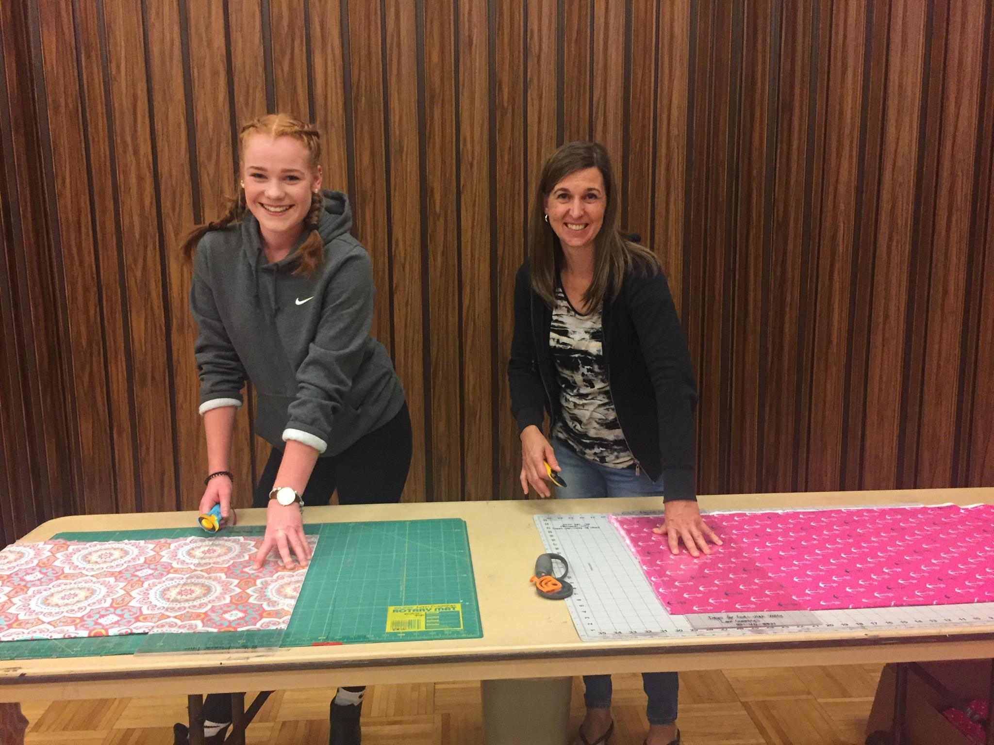 Emily from Germany went to participate in a Days for Girls Workshop. They made washable kits for girls in third world countries. She cut out the material for pads and the host mother did the sewing.