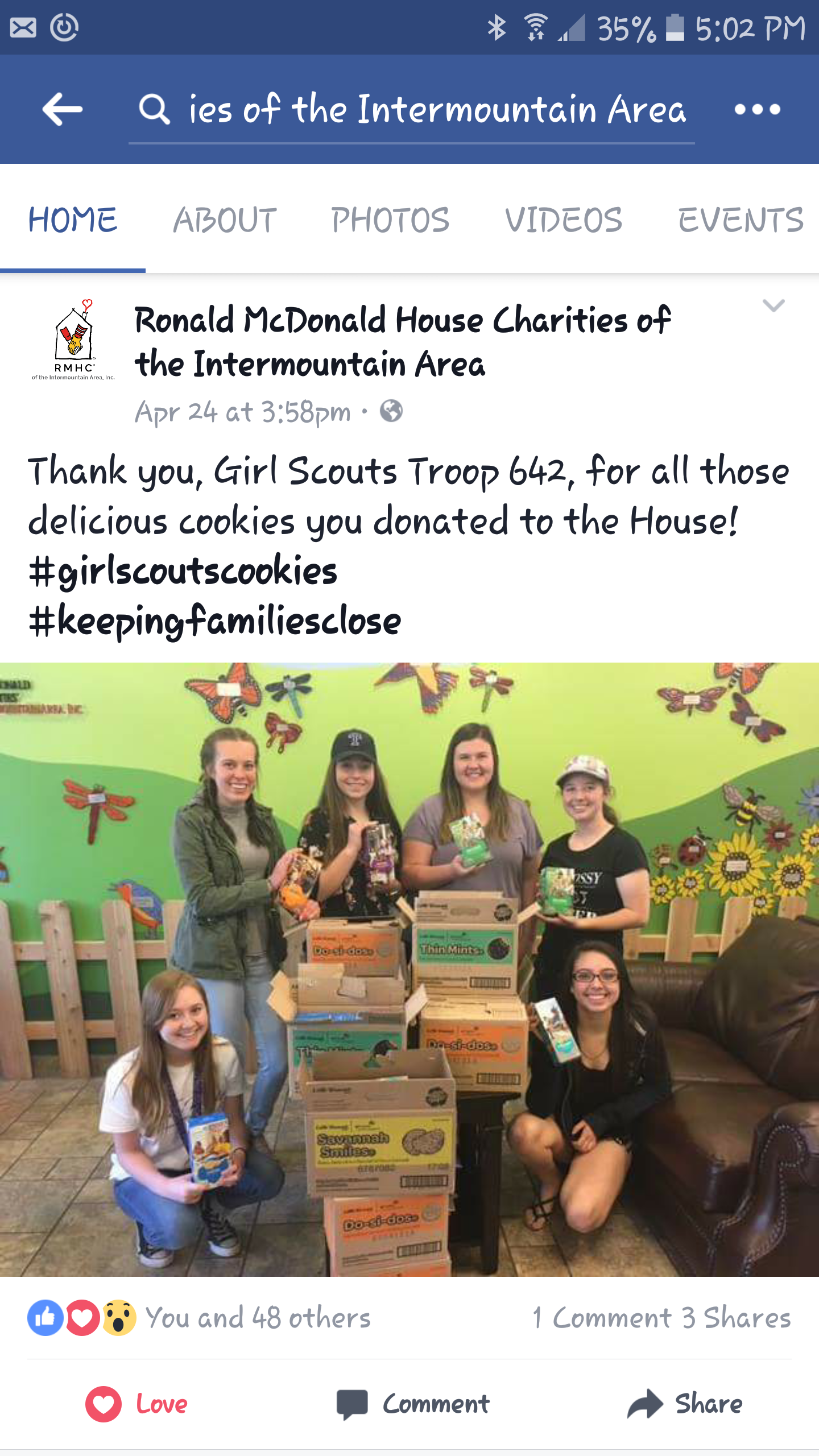 Nerea from Spain volunteered to help the Girl Scouts collect donations. She sold cookies and collected donations for extra boxes to donate to the Ronald McDonald House Charities. They delivered 12 cases of cookies for the families staying there.