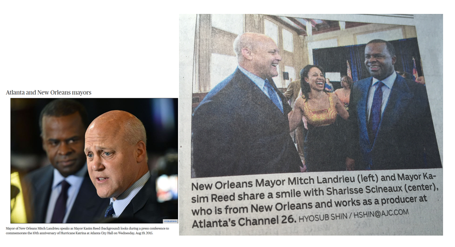 "Leslie, Katie and Schneider, Craign. ""New Orleans mayor to Katrina evacuees: come home.""  The Atlanta Journal-Constitution  19 August 2015: CPO1. Print."