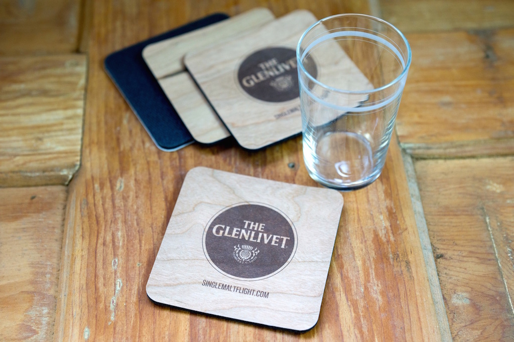 Cherry Wood Glenlivet Coasters