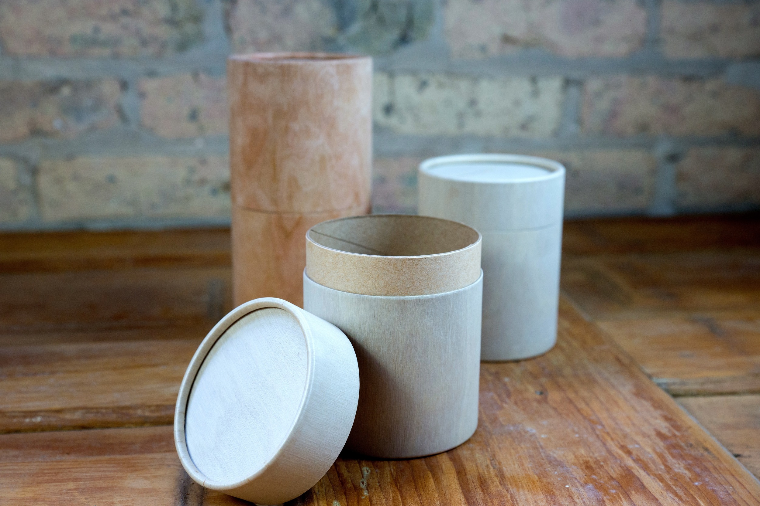 Cherry and Birch Wood Roll Top Canisters
