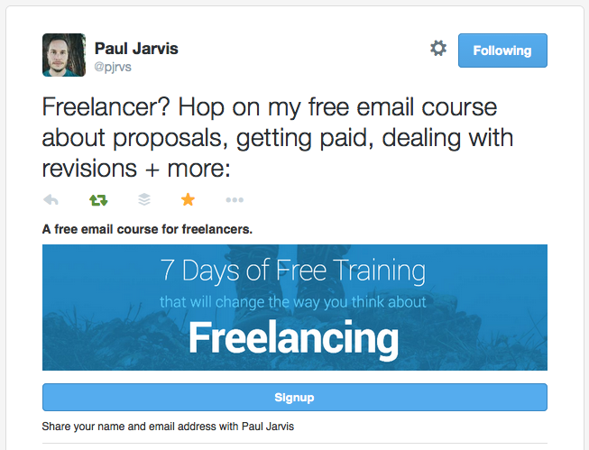twitter cards to promote your email course