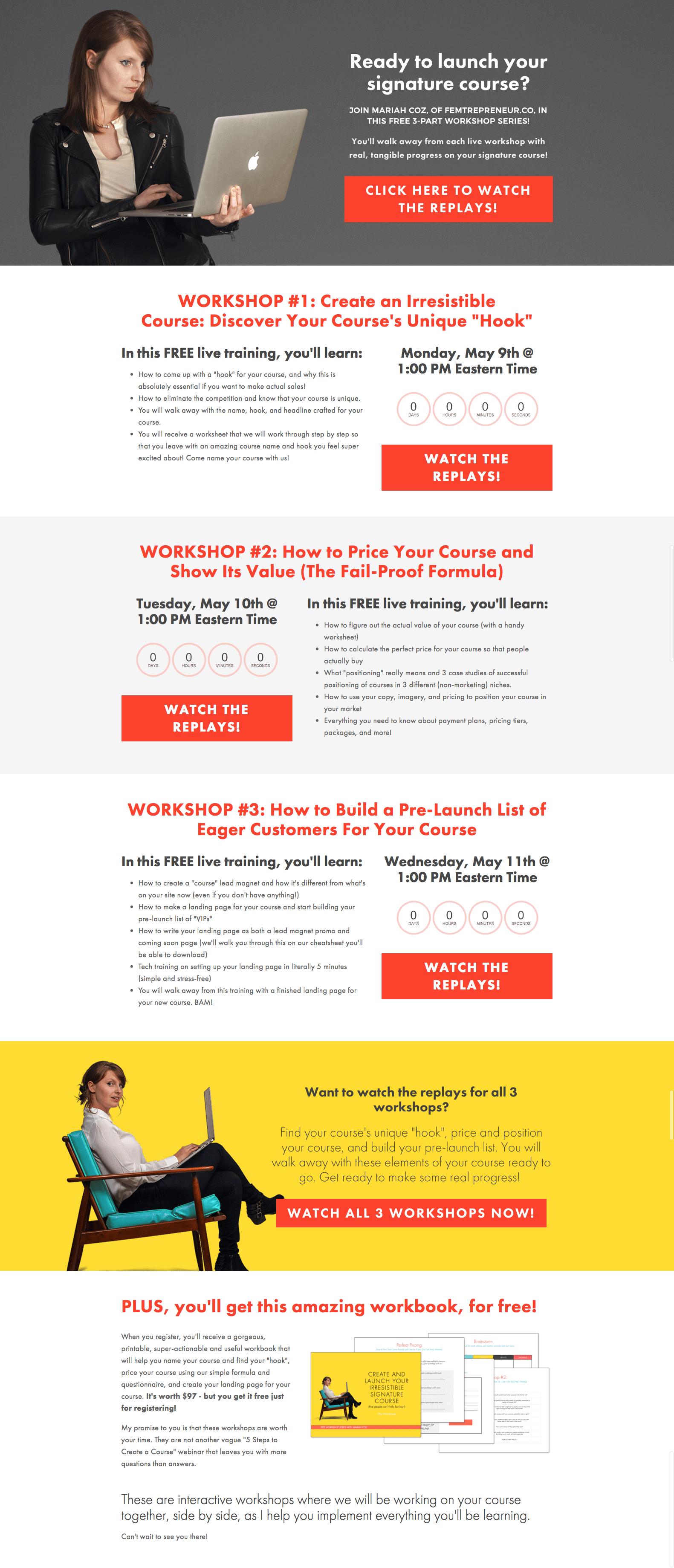Webinar registration page example