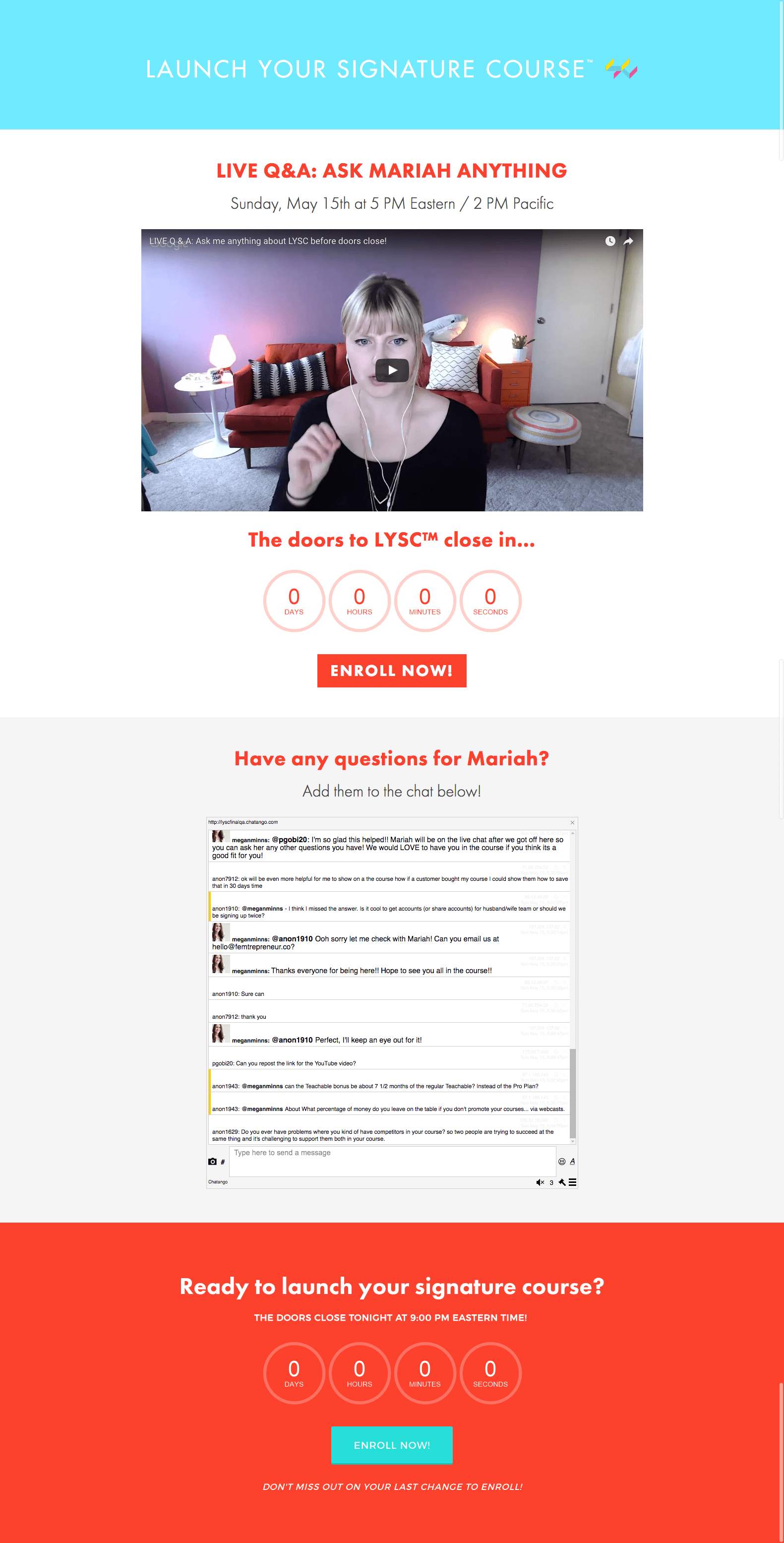 Example of a live webinar page