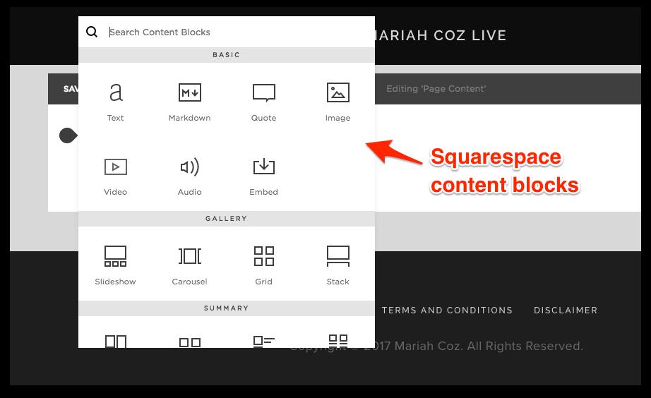 Squarespace Content Blocks