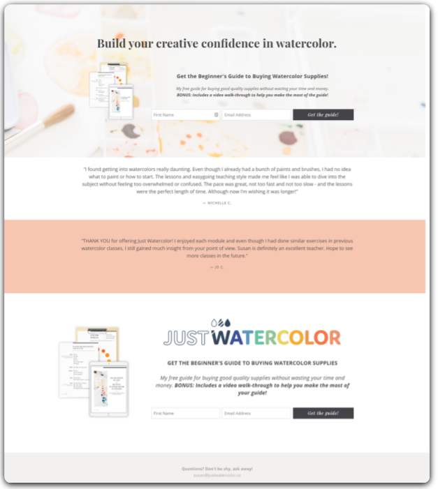 Freebie download landing page example