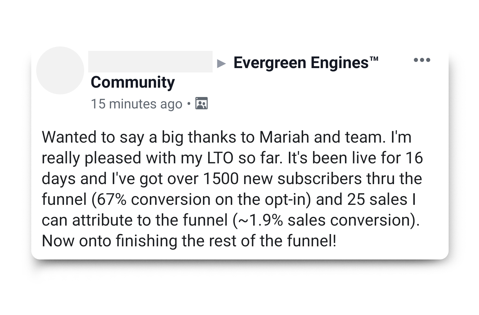 67% conversion rate with evergreen funnel
