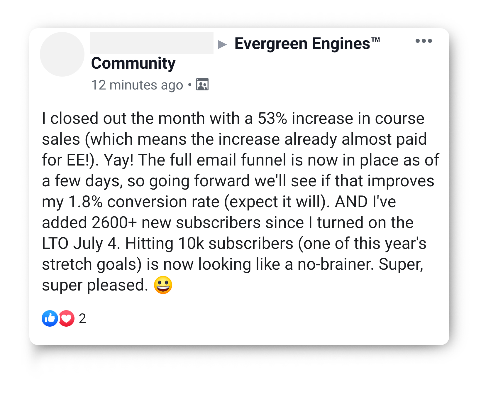 increase in course sales wit Evergreen Engines