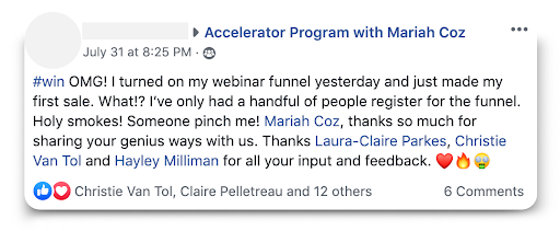 Accelerator with Mariah Coz Testimonial
