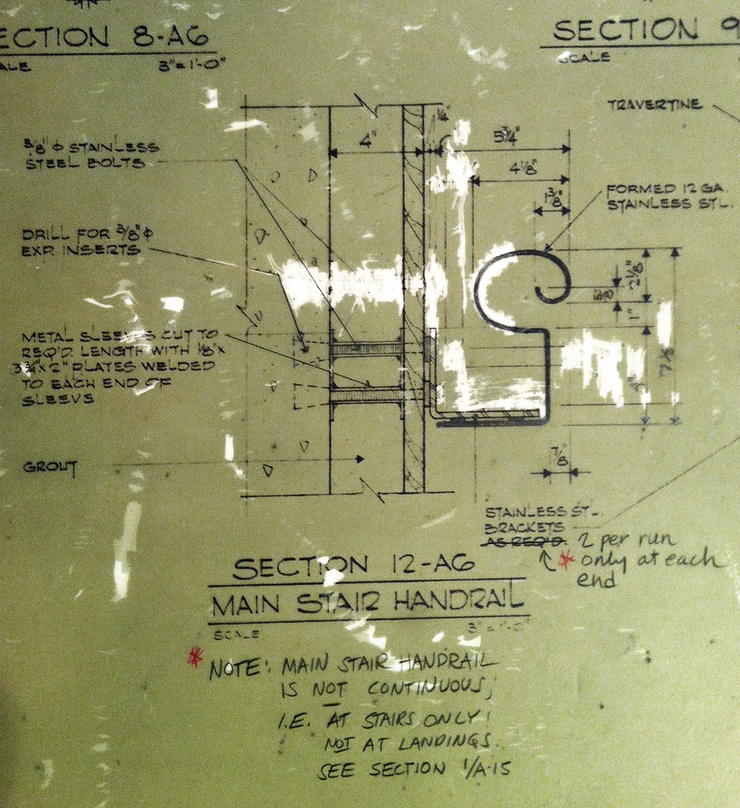 Handrail detail drawing; Louis I Kahn Collection, University of Pennsylvania