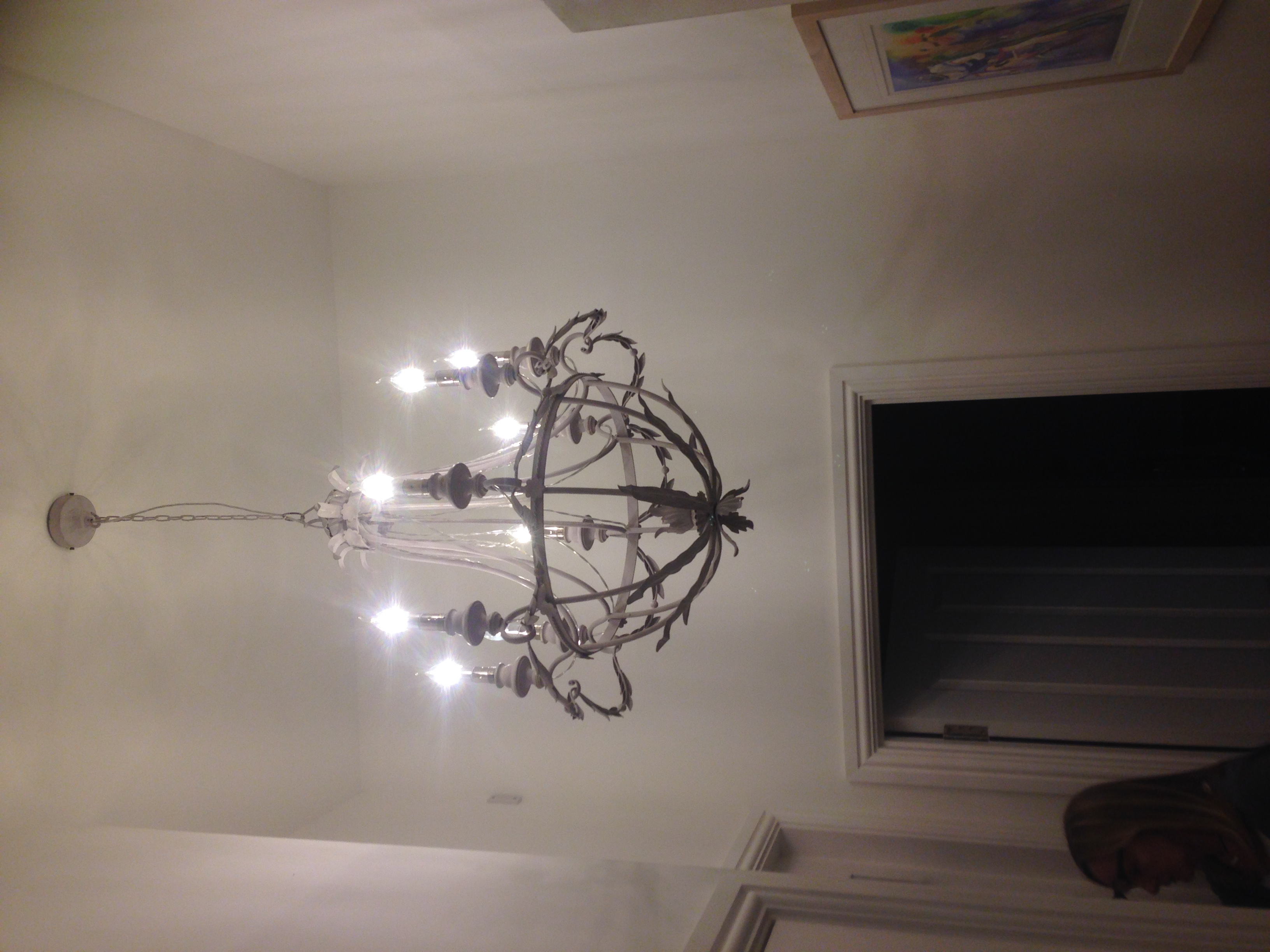 Here is the Chandelier installed in the hallway!