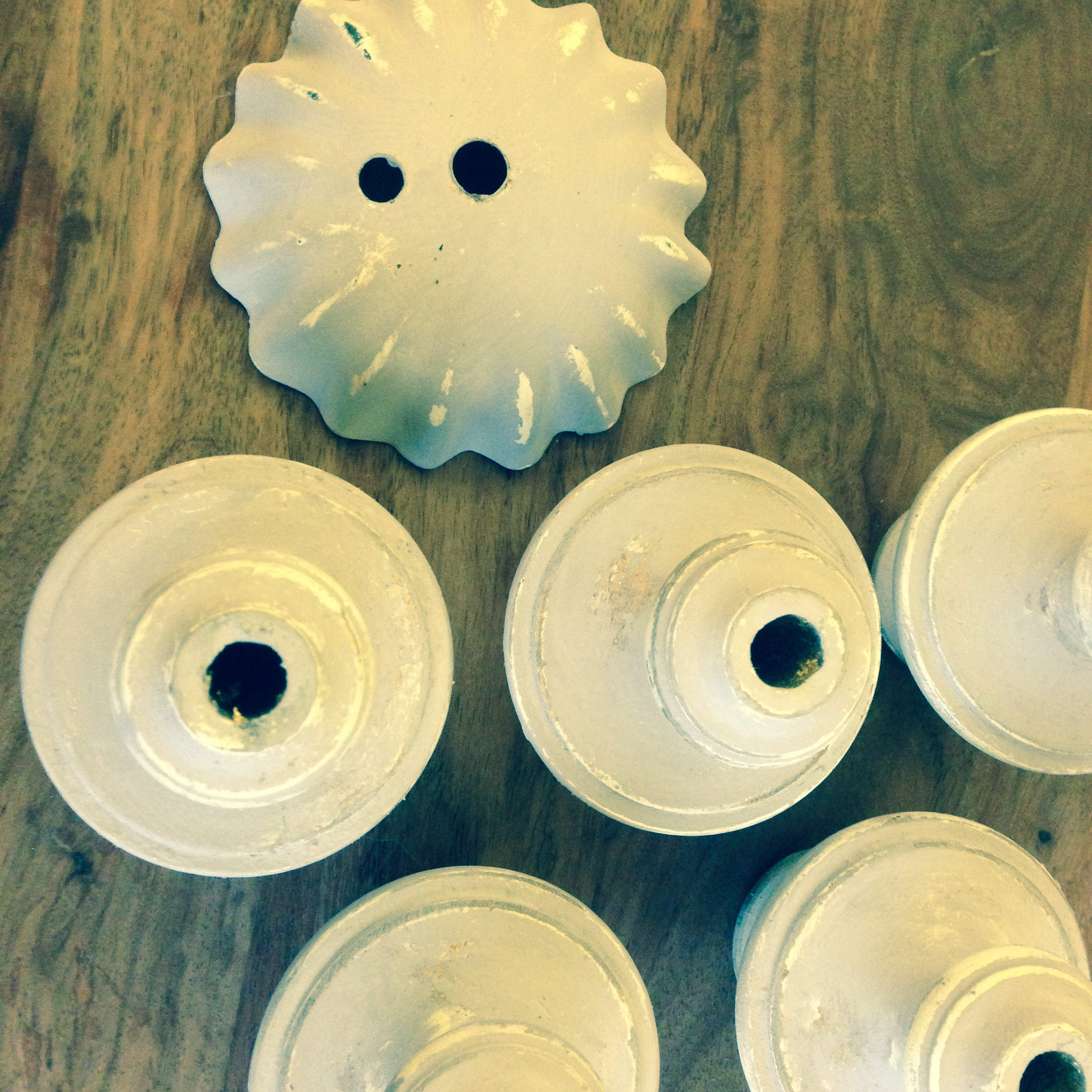 These are the candle holders, 6 in all painted and ready to go