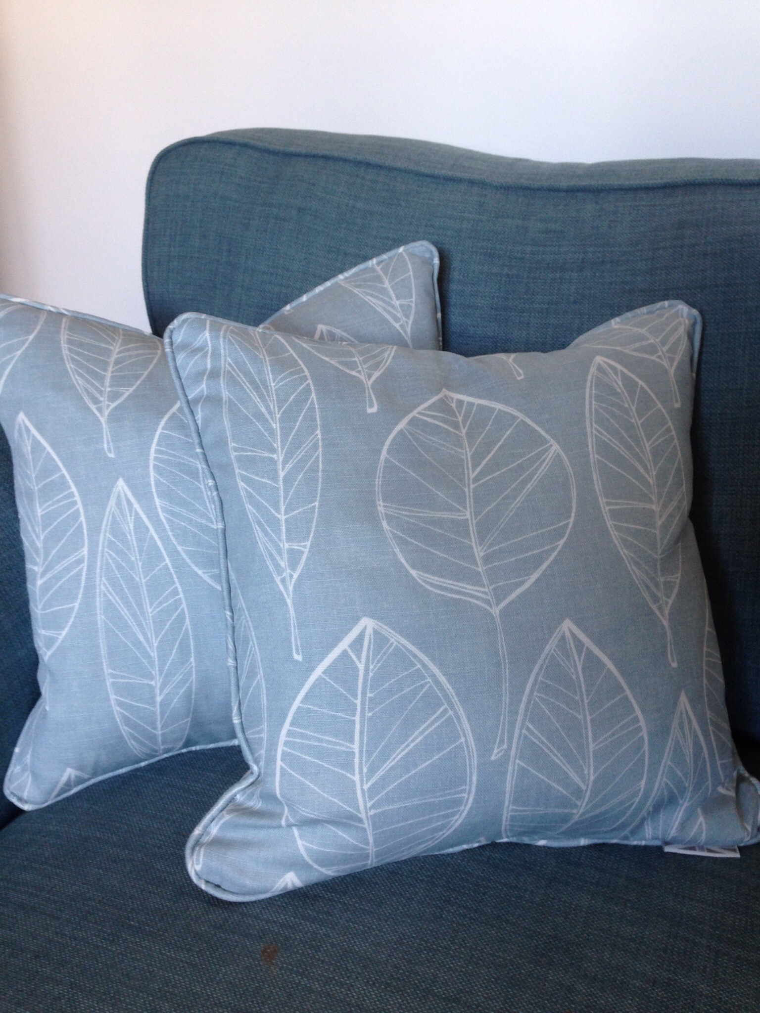 A bit of left over fabric used for two scatter cushions on the sofa