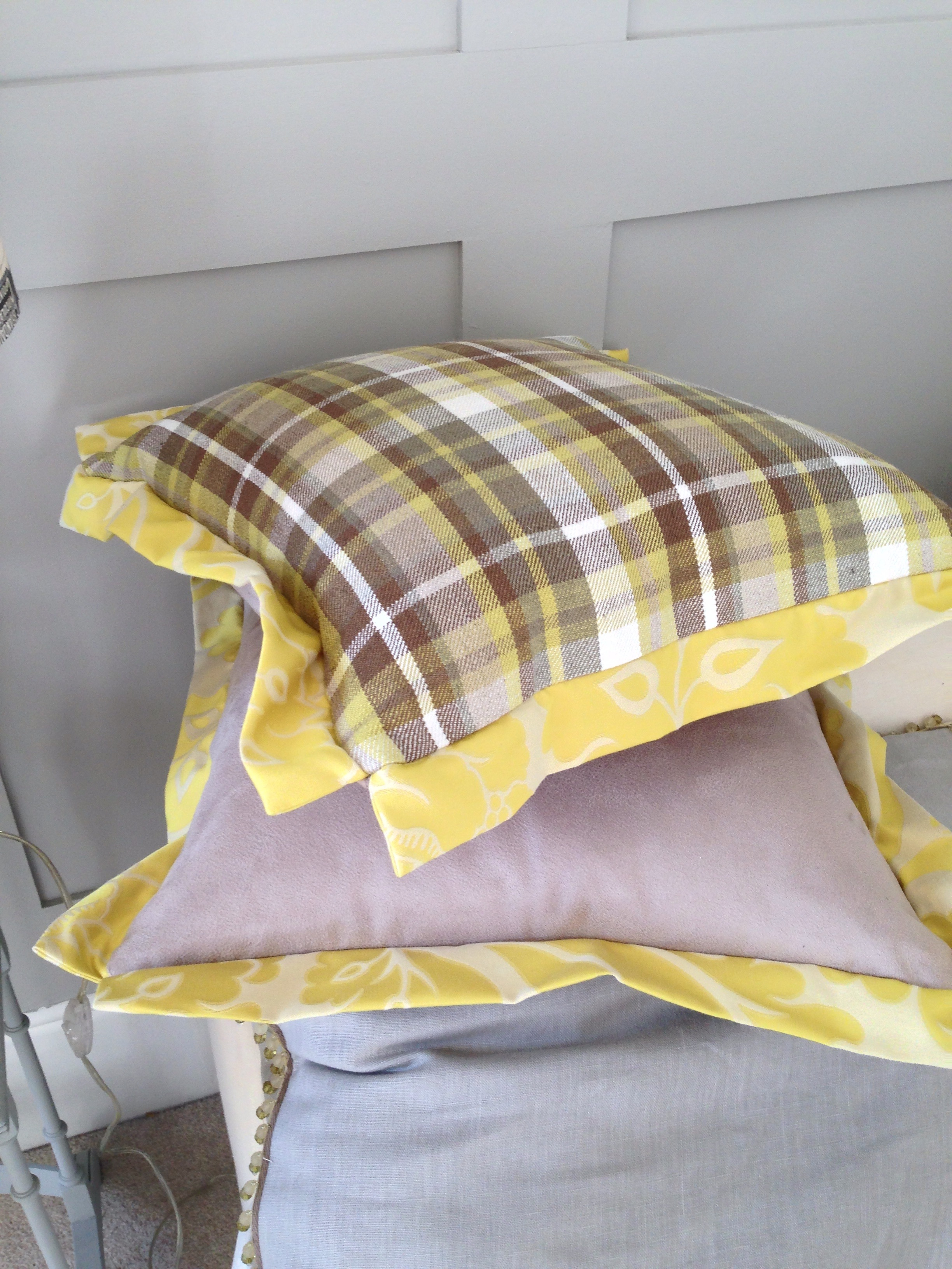 Faux suede with a Casamance check and a Robert Allen yellow damask