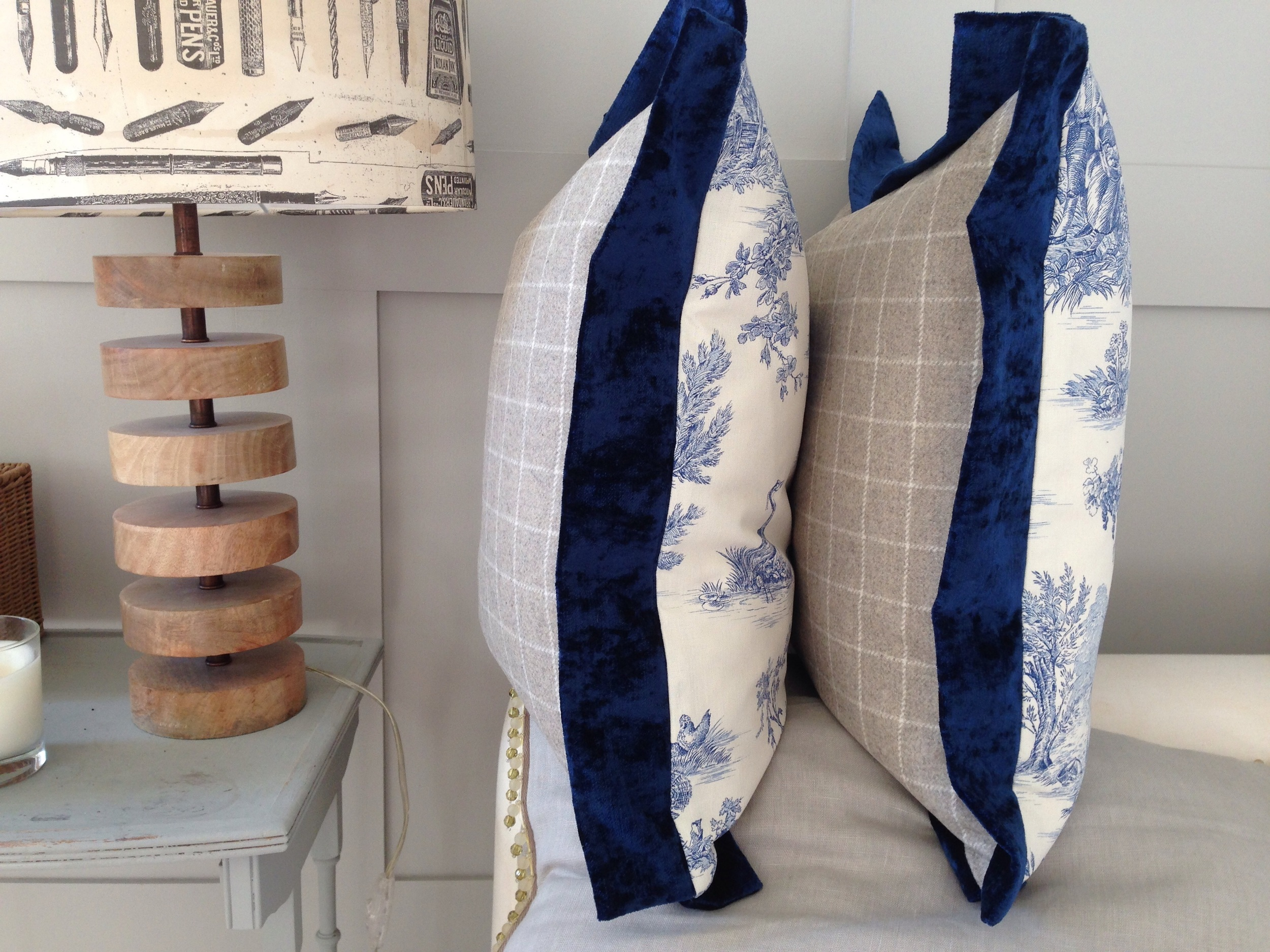 Lovely blue toile teamed with a Casamance check wool and a dark blue velvet