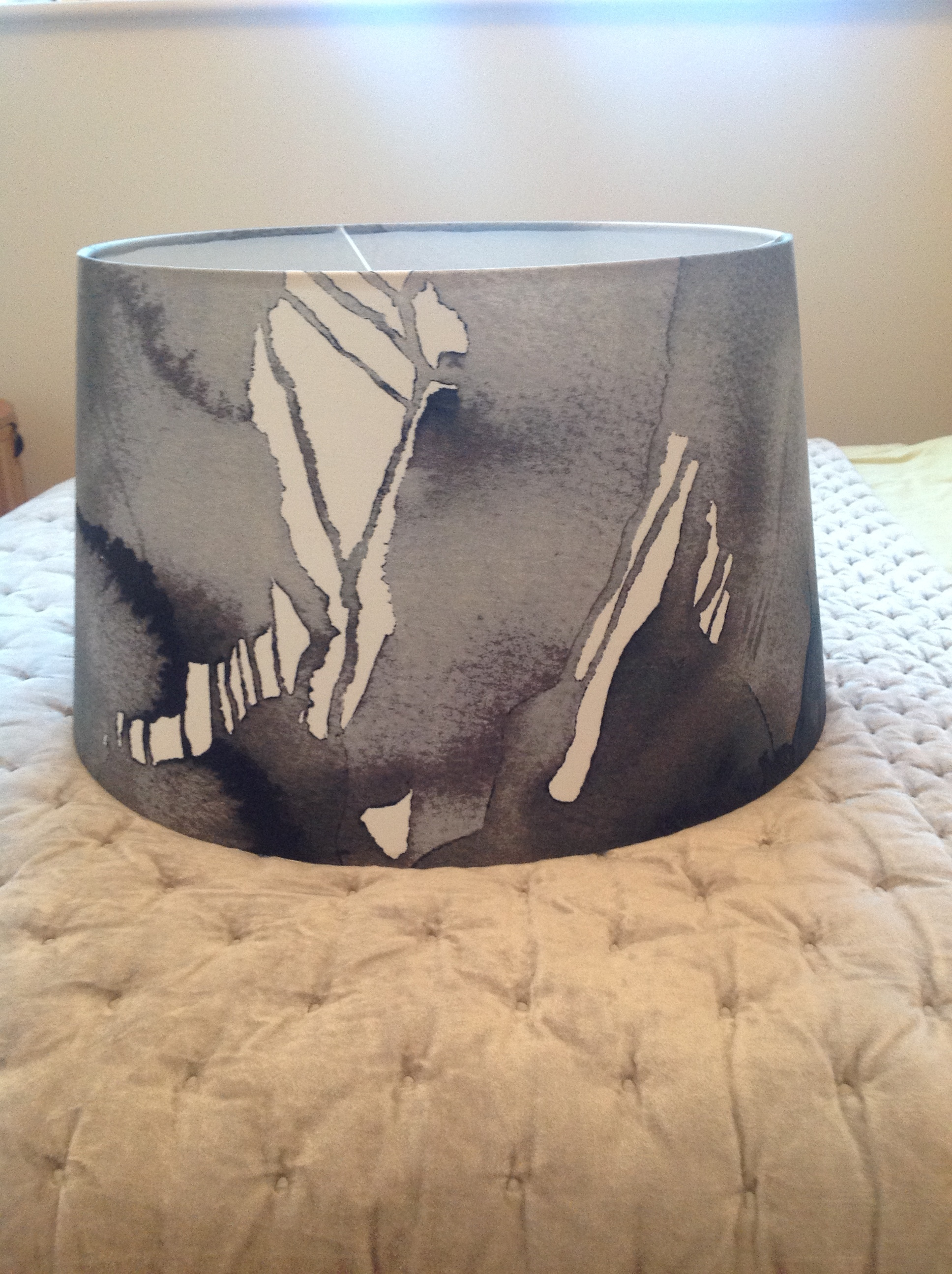 Cool black grey & white abstract fabric lampshade