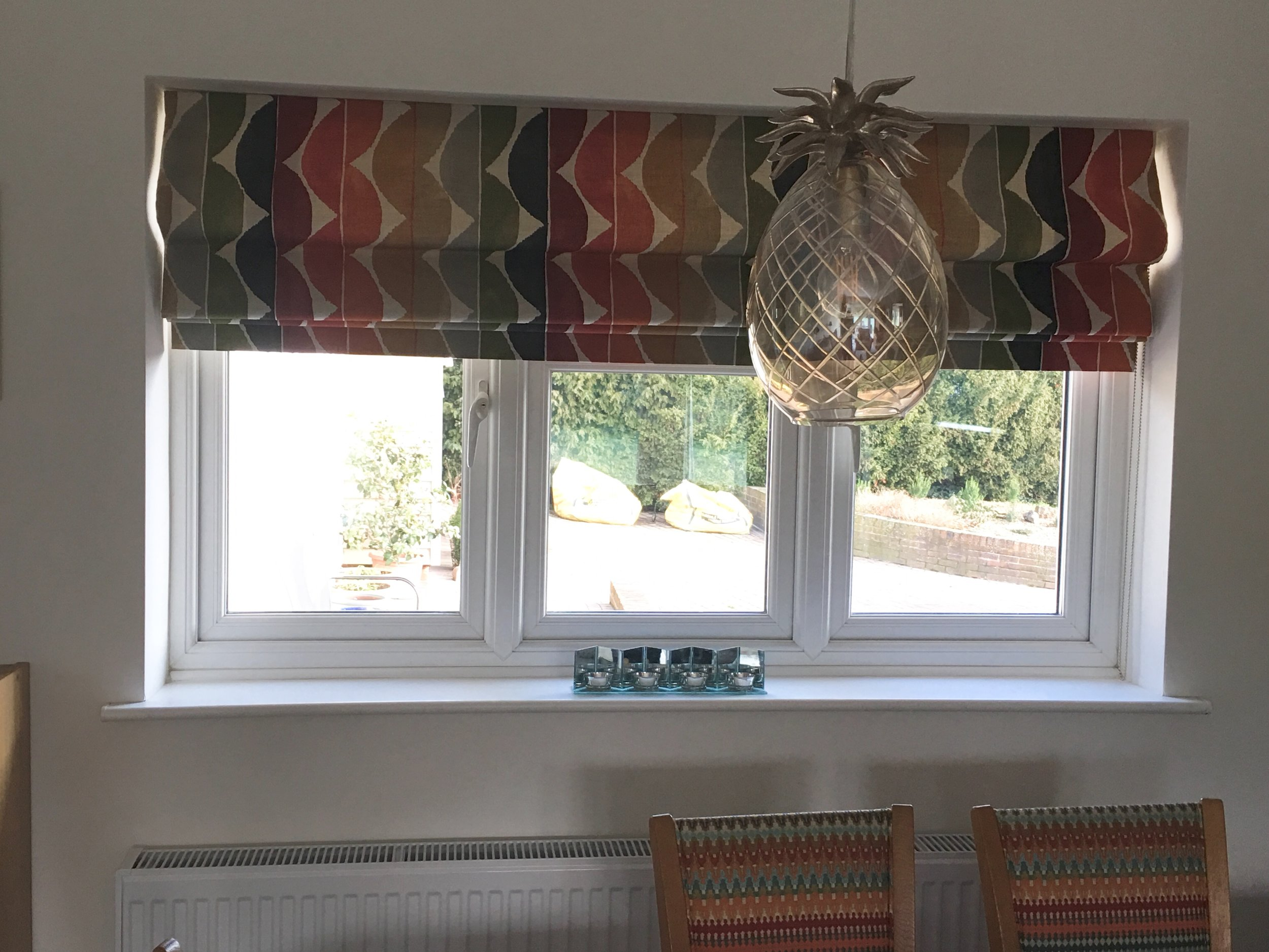 Geometric pattern works really well on the roman blind