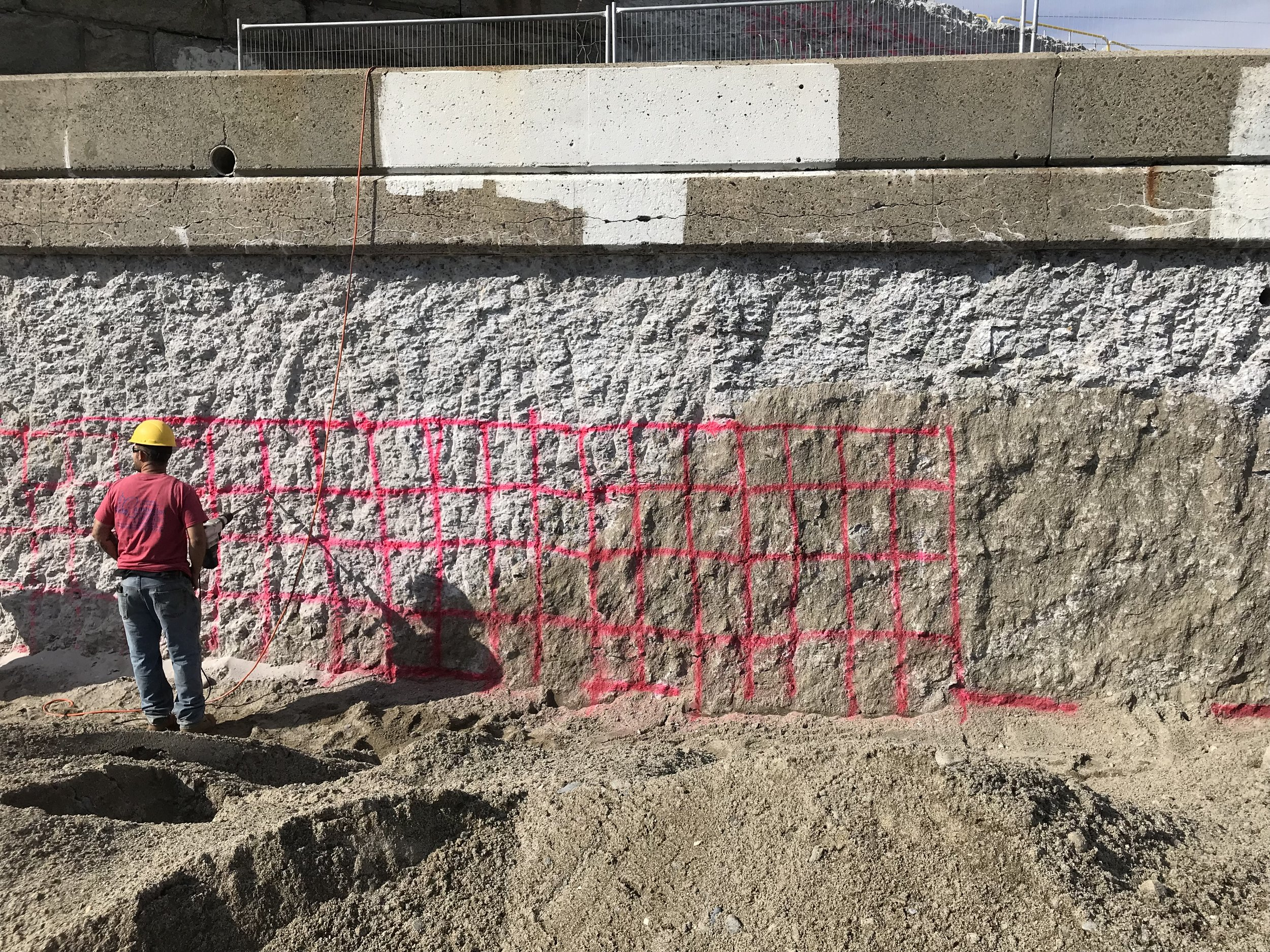 Concrete wall with grid pattern