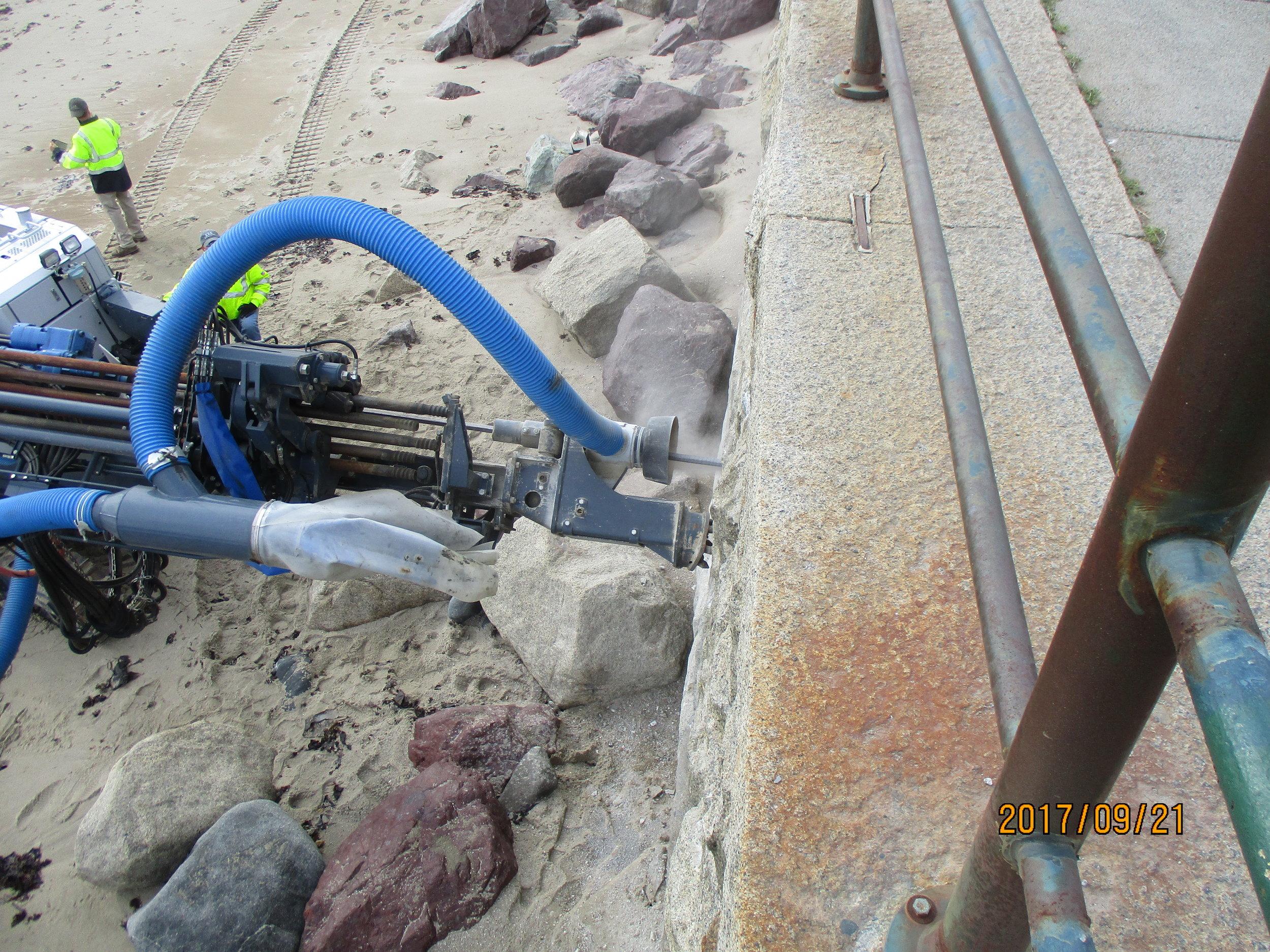 Drilling of granite wall