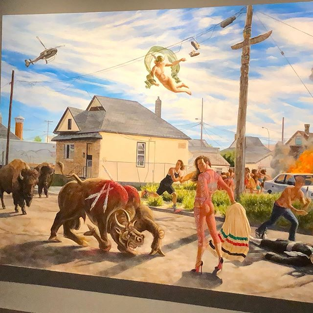 Winnipeg weekend with @theowarburton33 and @judylbarton — Kent Monkman's brilliant show at the @wag_ca followed by #eltonjohnfarewelltour — plus Ethiopian food at Gojo and feeding my Jewish heritage with a Reuben at @tallestpoppy in Wolseley. Pretty perfect.