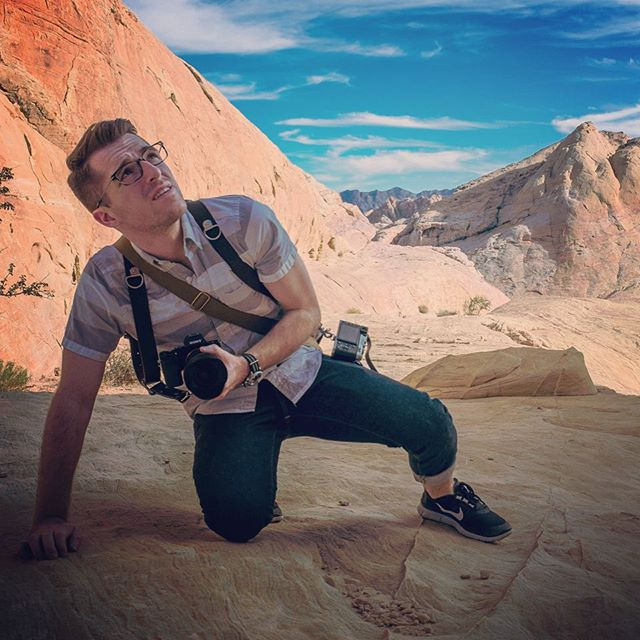 New post on Drewtensils about the all-new Camera Swagg from @holdfastgear  This is me last year at the Valley of Fire just outside of Las Vegas, wearing the @holdfastgear Money Maker with a Sony A7s and a Fuji X100 attached to it.  #photography #everydaycarry #sonya7s #fujix100