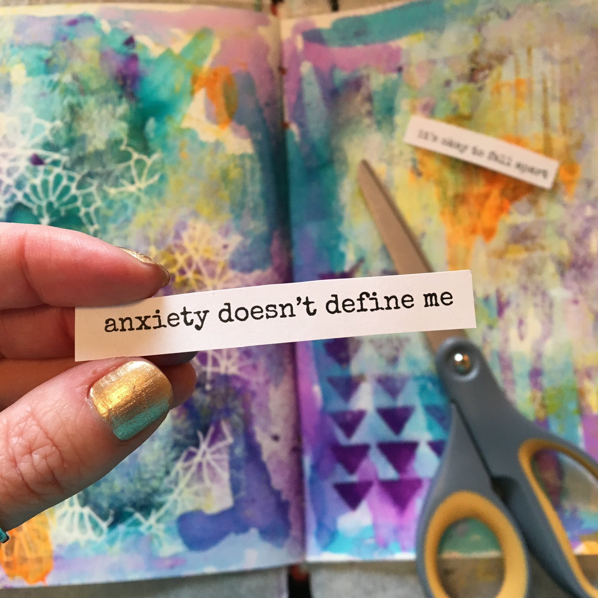 peeking into one of my three tutorials included in As I Am: art journal affirmations for anxiety and depression (including free printable list of affirmations already written for you)
