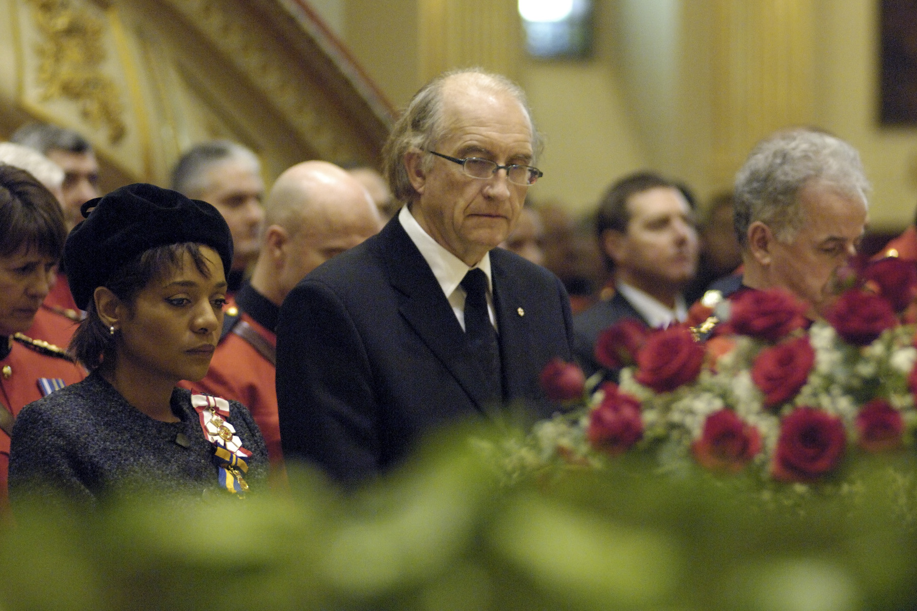 December 2005, Basilique Notre-Dame de Québec, Québec. Her Excellencies the Right Honorable MichaÎlle Jean, Governor General of Canada and Commander in Chief of the Canadian Forces, with His Excellency Jean-Daniel Lafond, attend to the Memorial Service for Mr. Mark Bourque at the Basilique Notre-Dame de Québec. Photo: Rideau Hall.