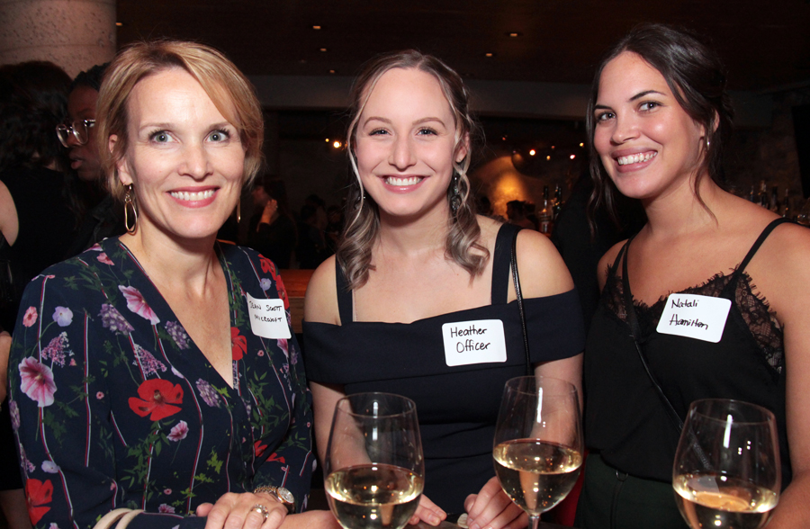 From left, Jean Scott, director at Microsoft Canada, with students Heather Officer and Natali Hamilton at the ELLE Gala organized by The Entrepreneurs' Club at the University of Ottawa's Telfer School of Management program. Photo by Caroline Phillips