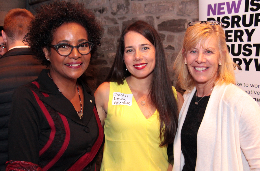Keynote speaker and former governor general Michaëlle Jean with Chantal Lanoy, technology consulting manager with presenting sponsor Accenture, and Telfer School of Management professor Catherine Elliott at the ELLE Gala, held at Sidedoor Contemporary Kitchen & Bar in the ByWard Market on Monday, Sept. 30, 2019. Photo by Caroline Phillips