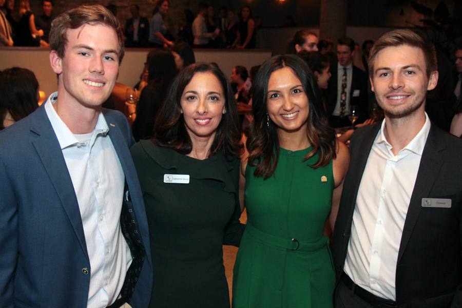 From left, uOttawa student Liam Blevins, a junior financial analyst with InterRent REIT, seen at the ELLE Gala with Catherine Wood, vice-president of talent, development and recruiting for InterRent REIT/CLV Group, Priya Aduvala, and Connor Schyvenaars, a Telfer School graduate who's now working at CLV Group. Photo by Caroline Phillips