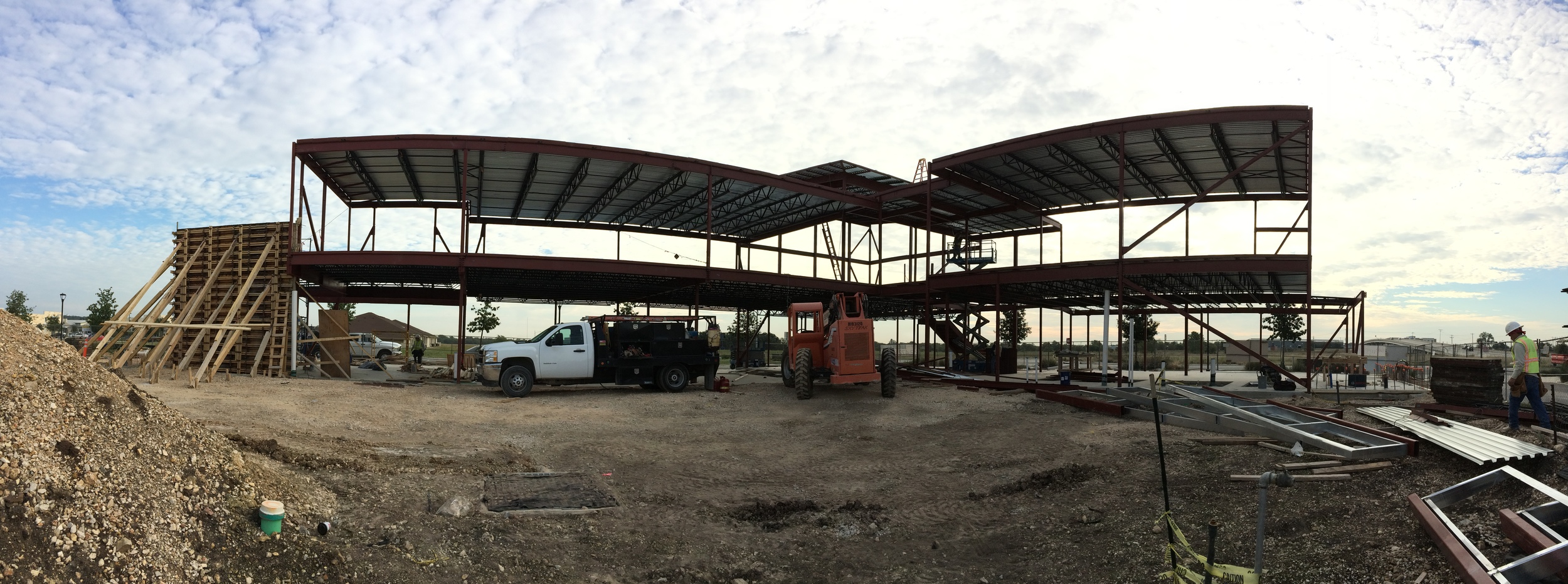 View from the back of the building with steel nearly complete.