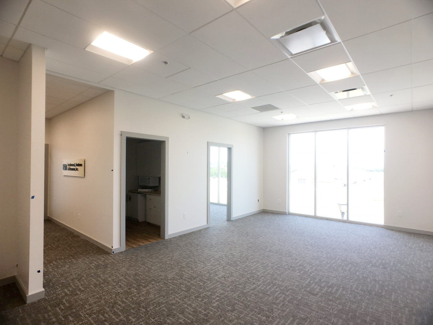 Open office to private office and break room