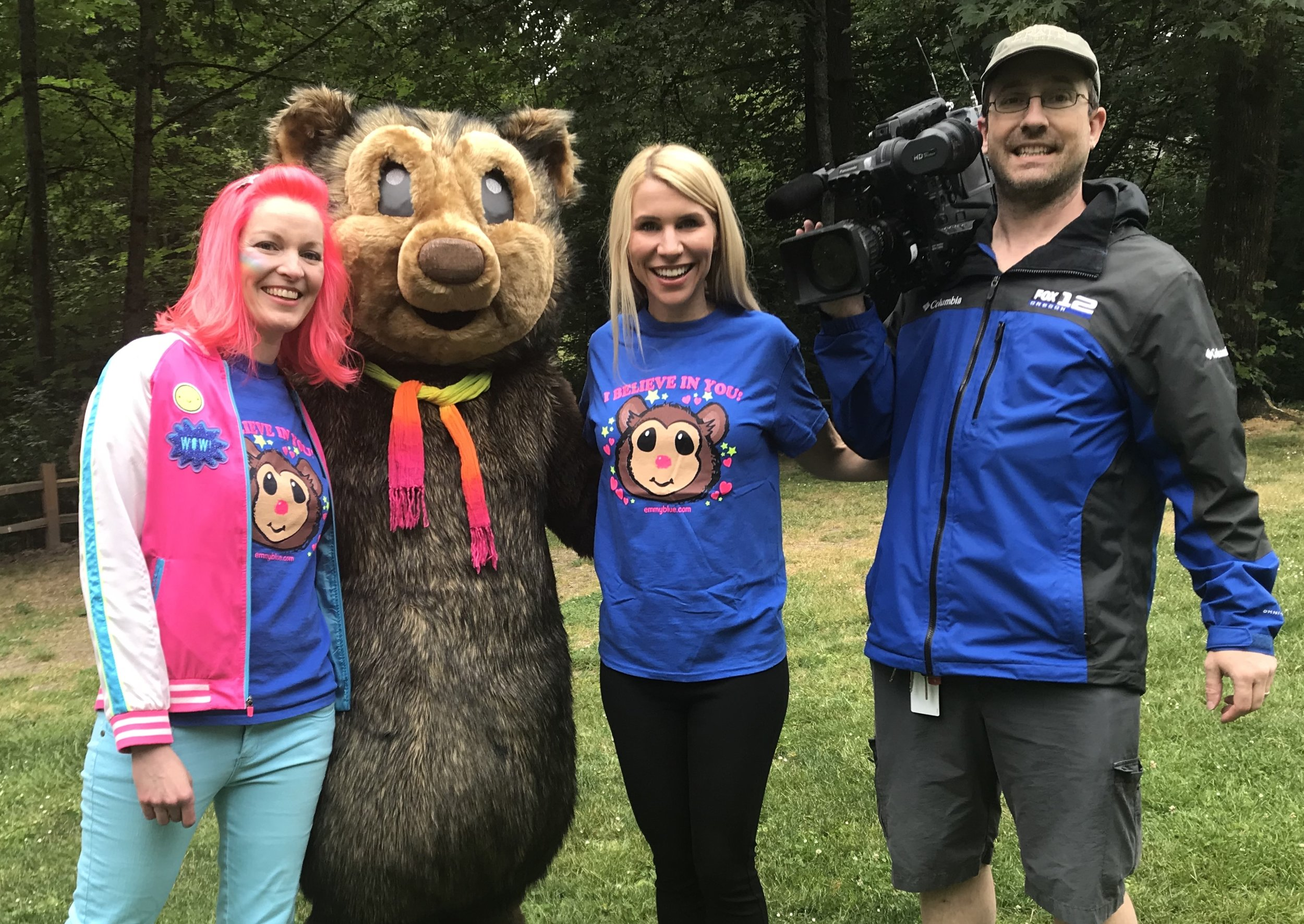 Emmy Blue, the Squatchie and Stephanie Kralevich from FOX 12