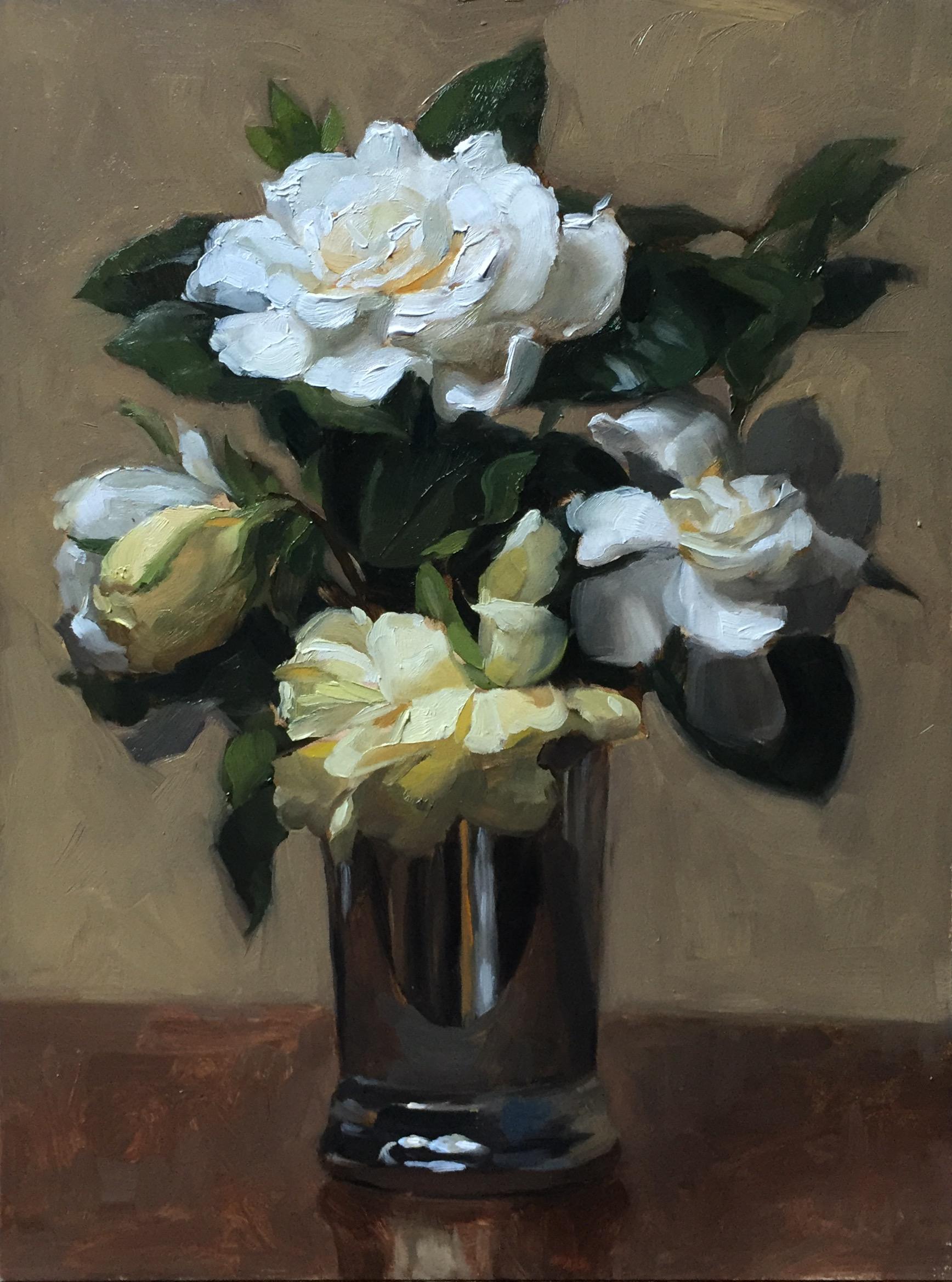 Gardenias in a silver cup, oil on board