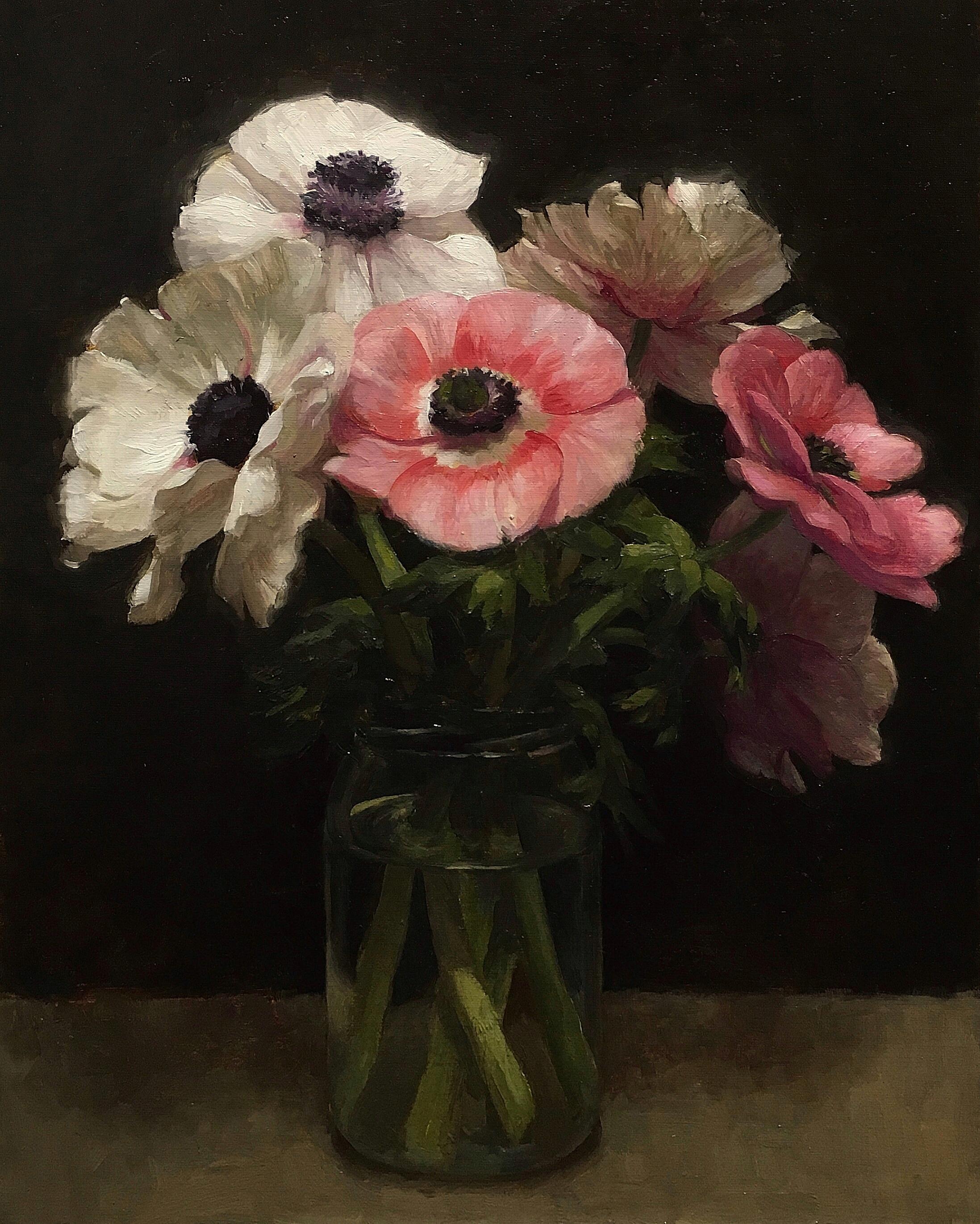Six Anemones, oil on canvas