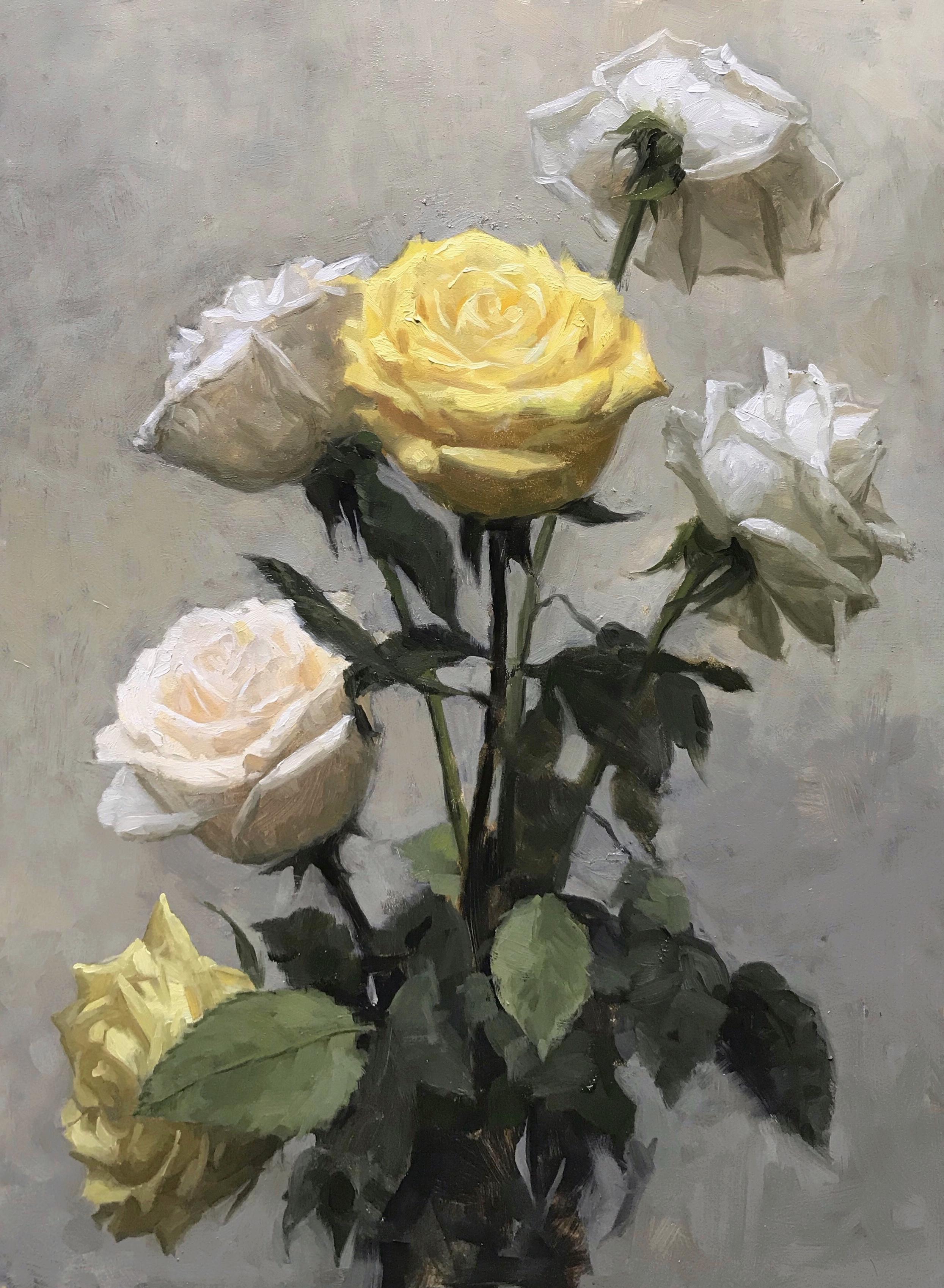 Six roses,  oil on panel