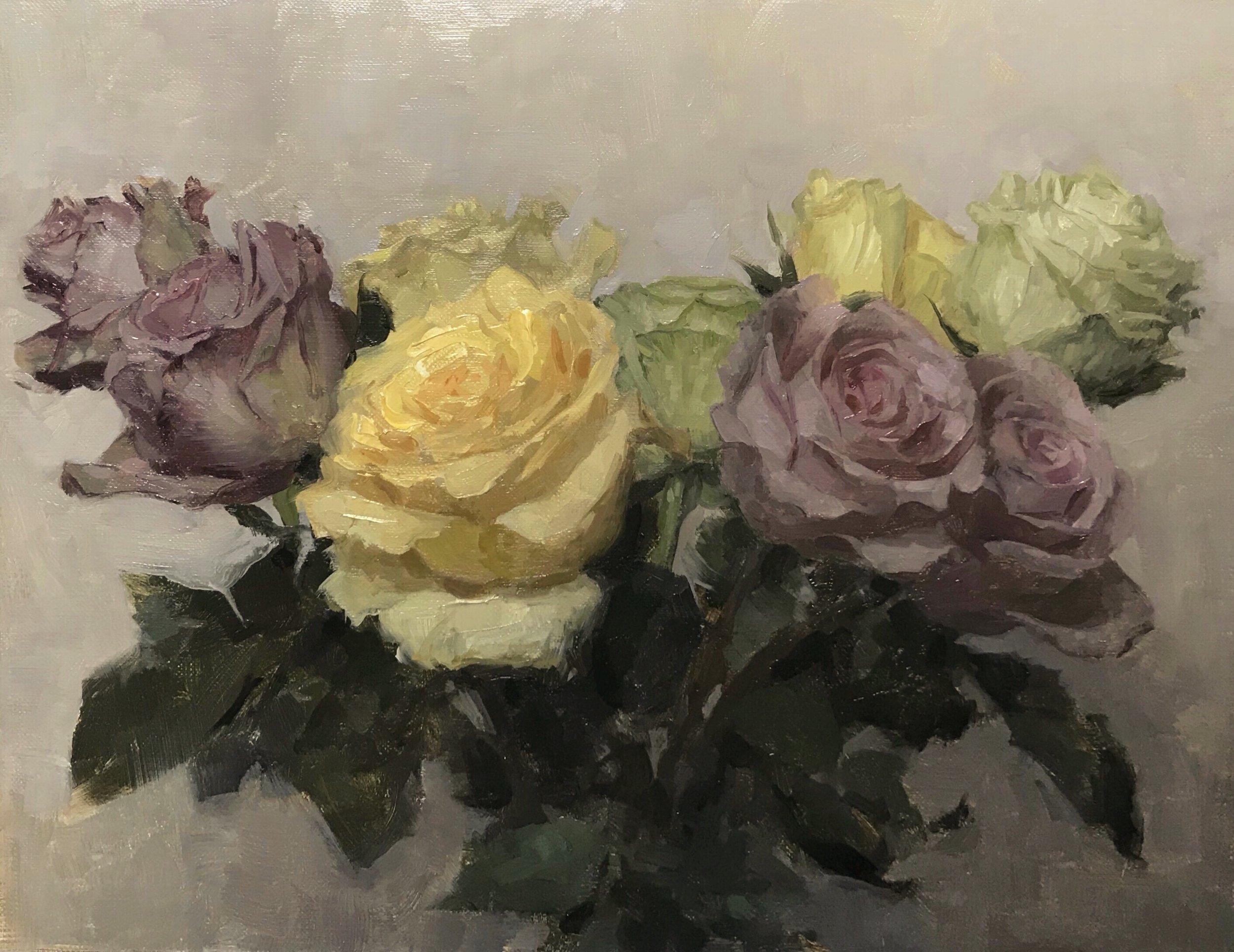 Nine roses,  oil on canvas on panel